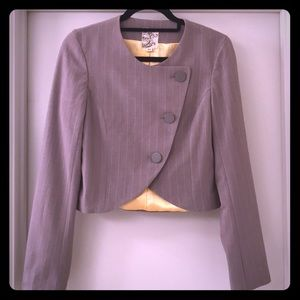 Tulle tulip front overlay button up blazer